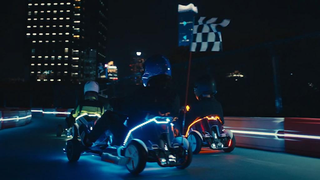 Go kart night race flag off